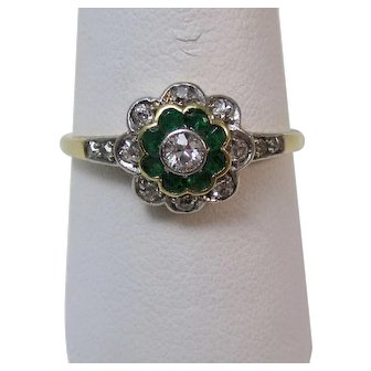 Edwardian Natural Emerald & Old European Cut Diamond Floral Engagement Birthstone Anniversary Ring 14K