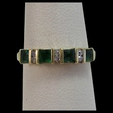 Emerald & Diamond Wedding Day Birthstone Band Ring