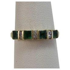 Emerald & Diamond Wedding Day Birthstone Band Ring