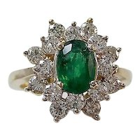 Estate Natural Emerald & Diamond Ring 14K