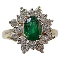 Estate Natural Emerald & Diamond Engagement Birthstone Anniversary Ring 14K
