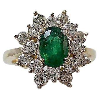 Estate Natural Emerald & Diamond Engagement Birthstone Anniversary Ring 14K