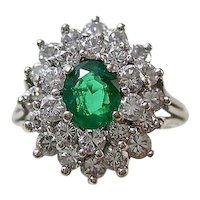 Estate Natural Columbian Emerald & Diamond Ring 18K