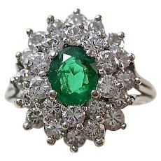 Estate Natural Emerald & Diamond Engagement Wedding Day Birthstone Ring 18K