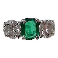 Estate Columbian Emerald & Diamond 1950's Wedding Anniversary Birthstone Ring Platinum