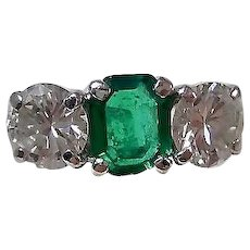 Estate Columbian Emerald & Diamond 1950's Wedding Anniversary Birthstone Ring Platinum