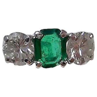 Estate Emerald & Diamond 1950's Wedding Anniversary Birthstone Ring Platinum