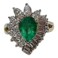 Vintage Estate Natural Emerald & Diamond Birthstone Ring 18K