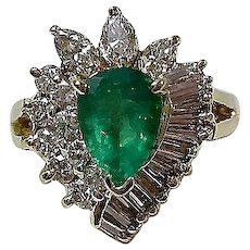 Vintage Estate Natural Emerald & Diamond Engagement Birthstone Anniversary Ring 18K