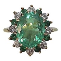 Vintage Estate Natural Columbian Emerald & Diamond Engagement Dinner Ring 18K