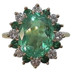 Vintage Estate Natural Columbian Emerald & Diamond Engagement/Anniversary/Birthstone Ring 18K