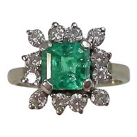 Vintage Estate Natural Columbian Emerald Diamond Ring 14K