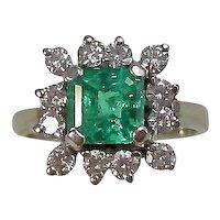 Vintage Estate Natural Columbian Emerald Diamond Ring 14K