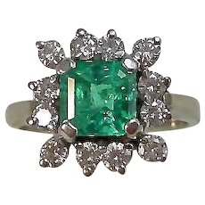 Vintage Estate Natural Emerald & Diamond Engagement Birthstone Ring 14K