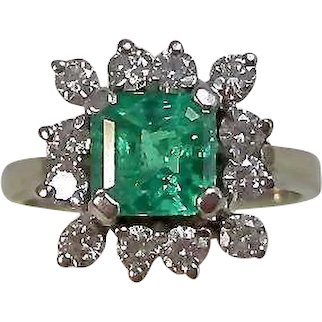 Vintage Estate Natural Emerald & Diamond Engagement Birthstone Ring 14K