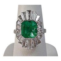 Estate 1950's Natural Columbian Emerald & Diamond Wedding Ballerina Ring Platinum