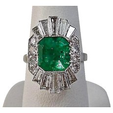 Estate 1950's Natural Columbian Emerald & Diamond Engagement Anniversary Ballerina Ring Platinum