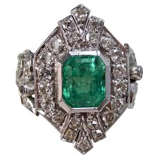 Vintage Estate Engagement Wedding Columbian Emerald & Diamond Ring 14K