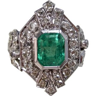 Vintage Estate Engagement Wedding Columbian Emerald & Diamond Ring 14K