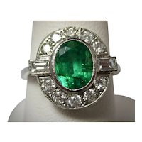 Antique Edwardian Emerald and Diamond Engagement Ring Platinum