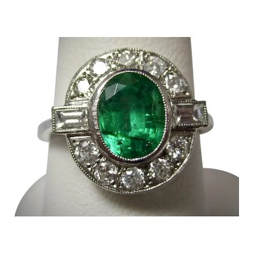Antique Edwardian Emerald and Diamond Engagement Ring Platinum