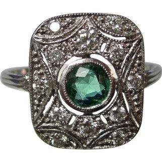 Antique Edwardian Natural Emerald Diamond Wedding Birthstone Anniversary Ring 18K