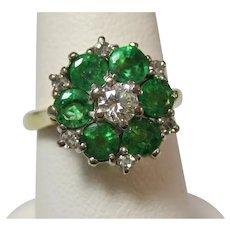 Vintage Estate 1950's Natural Emerald Diamond Engagement Wedding Birthstone Ring 18K