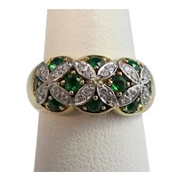 Vintage Estate 1950's Natural Emerald & Diamond Wedding Birthstone Ring 18K Platinum