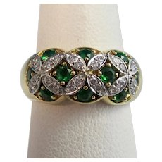 Vintage Estate 1950's Natural Emerald & Diamond Wedding Birthstone Ring 18K Platinum