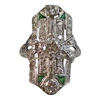 Antique Edwardian Diamond & Emerald Wedding Ring Platinum