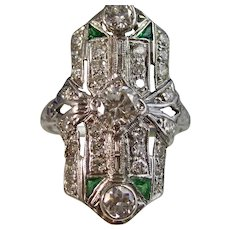 Antique Edwardian Diamond & Emerald Wedding Ring Platinum