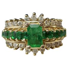 Vintage Estate Natural Emerald & Diamond Birthstone Engagement Ring 14K