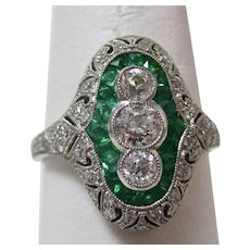 Vintage Estate Art Deco Emerald & Diamond Ring Platinum