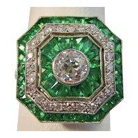 Vintage Estate Art Deco Emerald & Diamond Ring Platinum