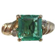 Vintage Estate Emerald & Diamond May Birthstone Ring 18K