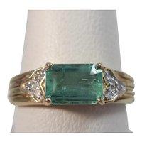 Vintage Estate Emerald Diamond Ring 14K