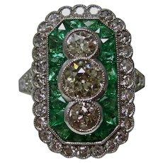 Vintage Estate Art Deco Emerald & Diamond Engagement Wedding Day Ring Platinum