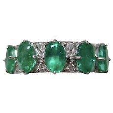 Vintage Estate 1950's Emerald & Diamond Ring 14K
