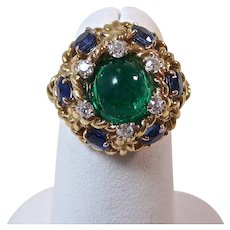Natural Emerald, Sapphire, Diamond Estate Engagement Wedding Anniversary Birthstone Ring 14K