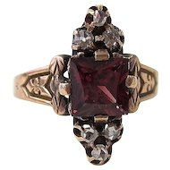 Antique Victorian 1890's Rhodolite Garnet  Diamond Engagement Birthstone Ring 14K