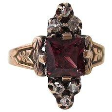 Antique Victorian 1890's Rhodolite Garnet  Diamond Engagement Birthstone Ring 14K