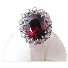 Vintage Estate Natural Rhodolite Garnet & Diamond Halo Ring 14K