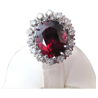 Natural Rhodolite Garnet & Diamond Estate Engagement Birthstone Wedding Halo Ring 14K