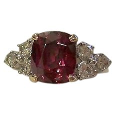 Vintage Estate Natural Rhodolite Garnet & Diamond Engagement Birthstone Ring 14K