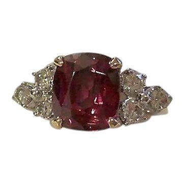 Vintage Estate Natural Rhodolite Garnet & Diamond Ring 14K