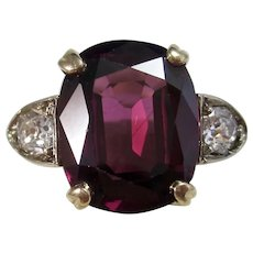 Vintage Estate Retro 1940's Almandine Garnet Ring 14K Platinum