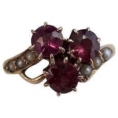 Antique Victorian Natural Almandine Garnet & Cultured Pearl Engagement Ring 14K
