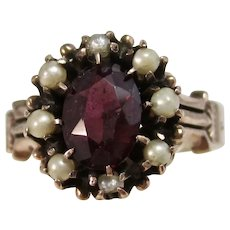 Antique Victorian Pyrope Garnet & Seed Pearl Ring 14K