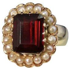 Vintage Estate 1940's Italian Pyrope Garnet Seed Pearl Ring 18K Gold