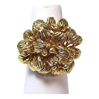 Huge Floral Estate 18K Yellow Gold Anniversary Dinner Ring
